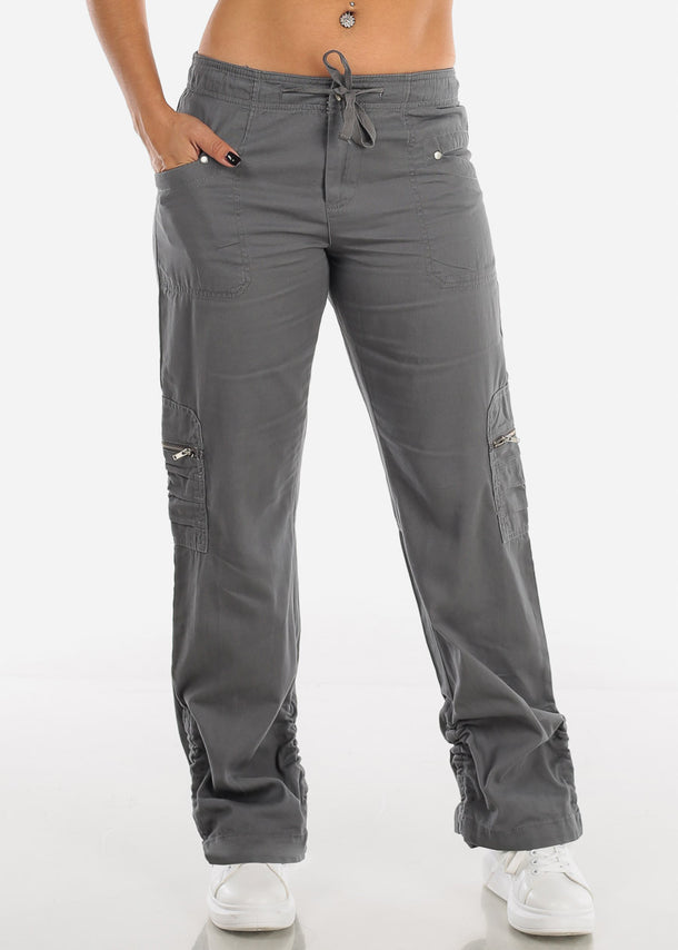 Drawstring Leg Grey Cargo Pants