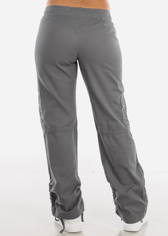 Drawstring Leg Grey Cargo Pants 9206GREY