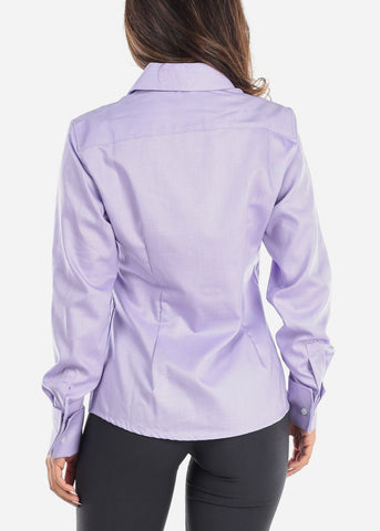 Image of Purple Wrinkle-Free Button Down Shirt