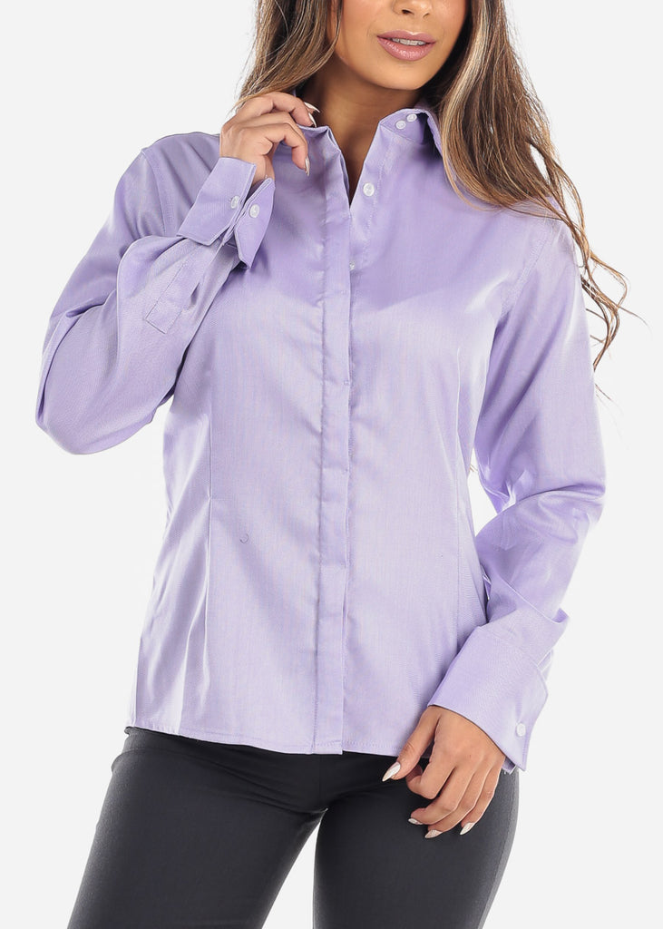 Purple Wrinkle-Free Button Down Shirt
