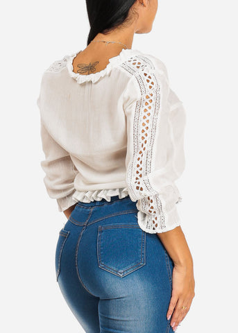 Image of White Elastic Waist Blouse