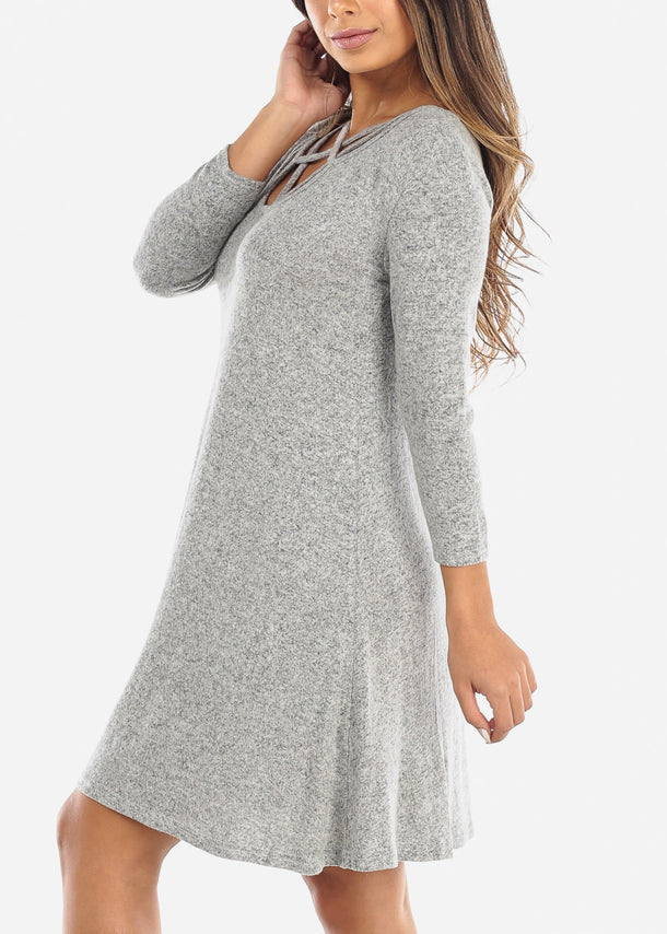 Criss Cross Front Grey Dress