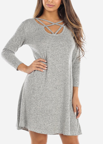 Image of Criss Cross Front Grey Dress