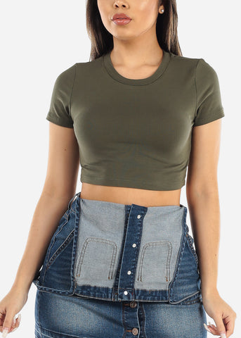 Olive Short Sleeve Crop Tee