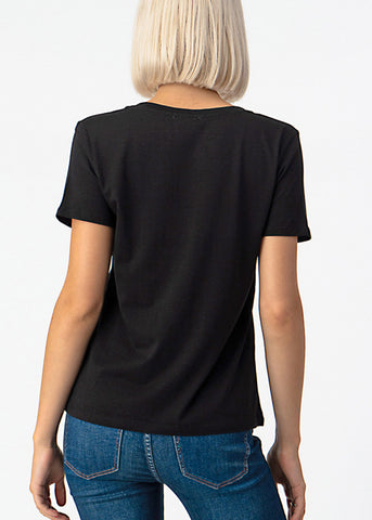 Basic V Neck Black Top