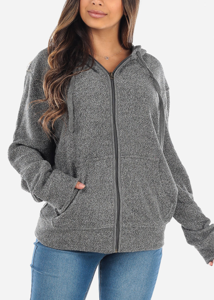 Zip Up Grey Knit Sweater