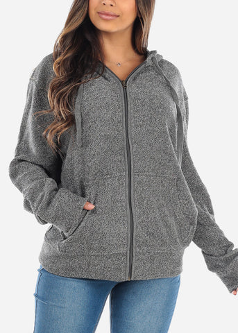 Image of Zip Up Grey Knit Sweater