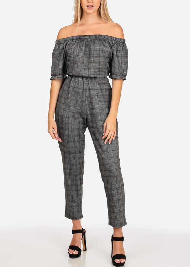 Grey Plaid Print Jumpsuit