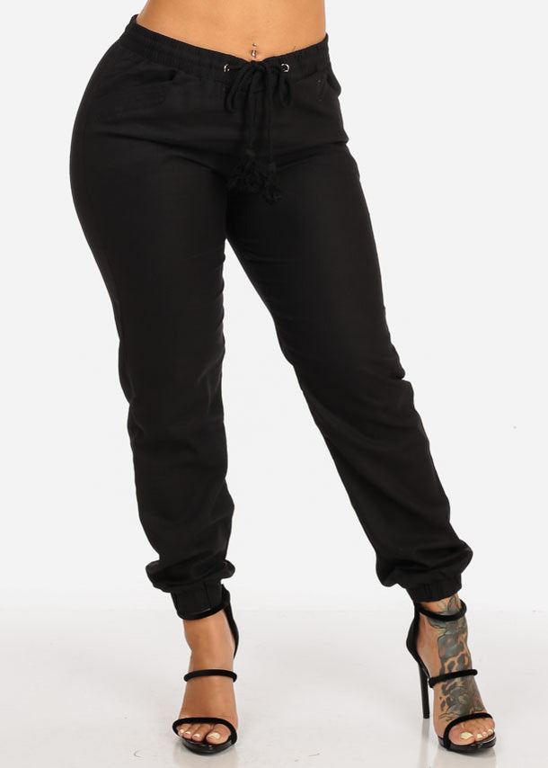 High Rise Black Linen Pants