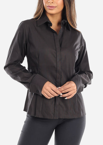 Image of Black Wrinkle-Free Button Down Shirt