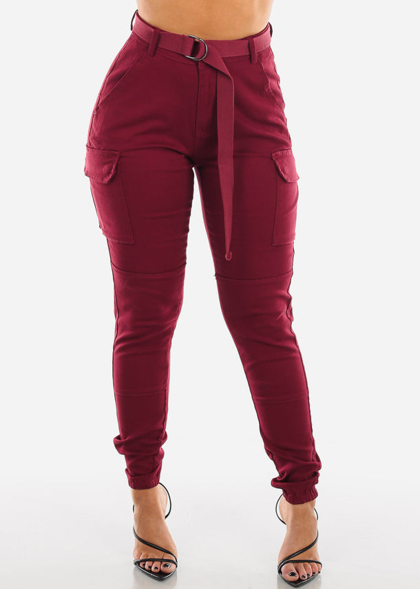 High Rise Burgundy Cargo Jogger Pants
