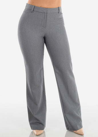 Image of Women's Petite High Waisted Grey Dressy Pants For Office Professional Business Career Wear