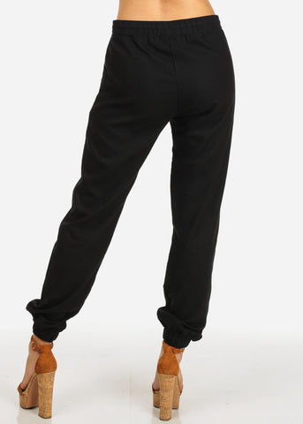 Image of Black Drawstring 2-Pocket Graphic Pants