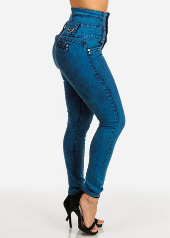 Colombian High Waisted Teal Jeans