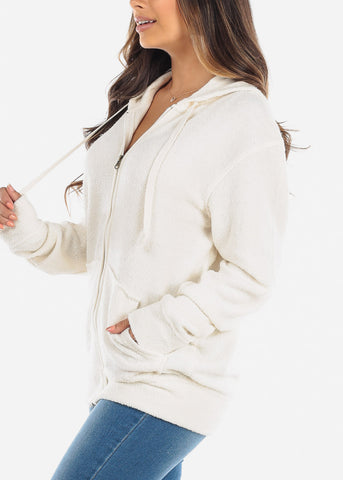 Image of Zip Up Oatmeal Knit Sweater
