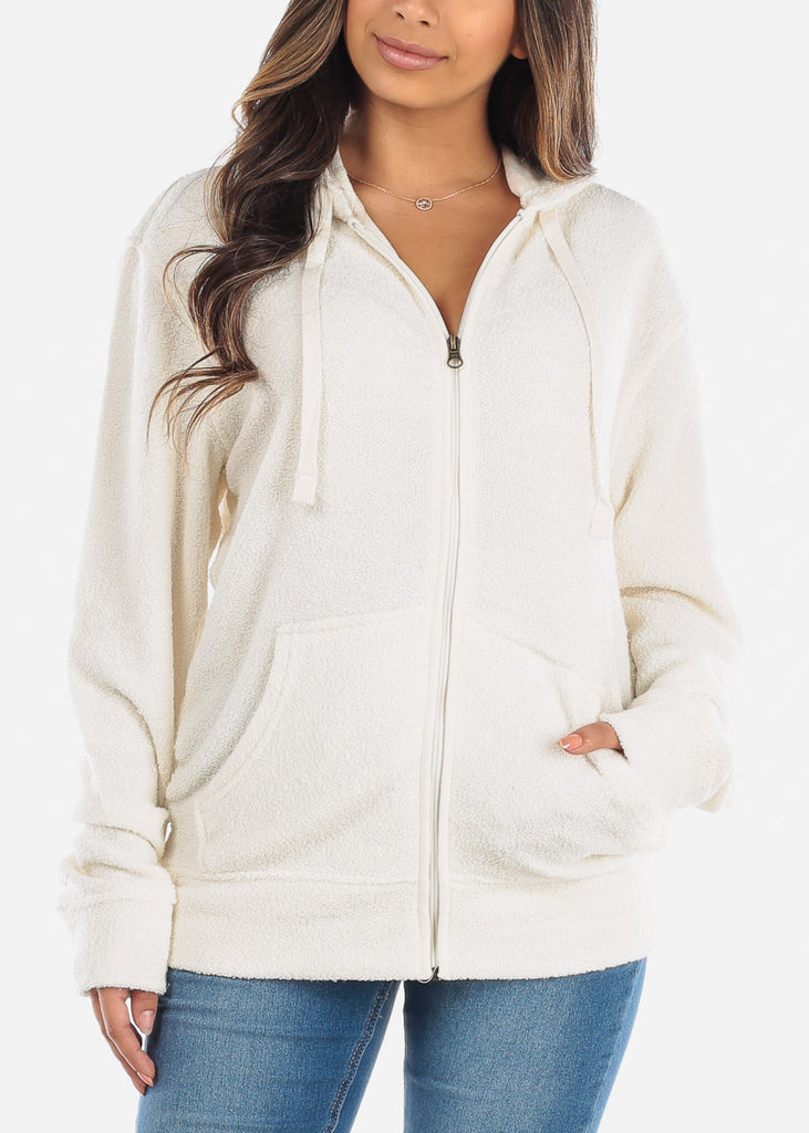 Zip Up Oatmeal Knit Sweater