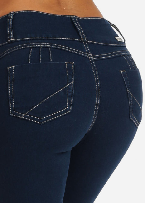 Mid Rise Butt Lifting 3 Button Med Wash Skinny Jeans
