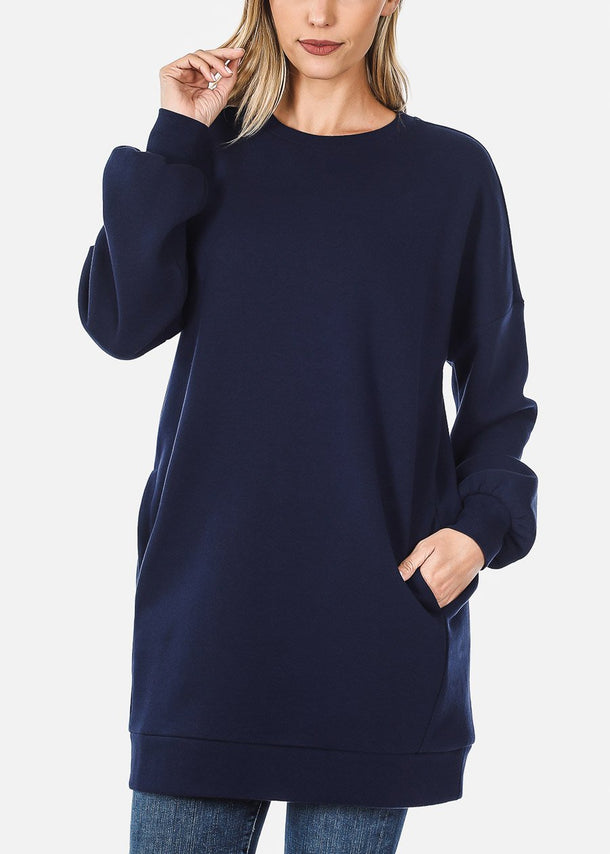 Oversized Round Neck Navy Sweatshirt