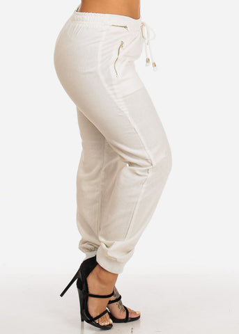 Image of Ivory Zipper Accents Drawstring Pants