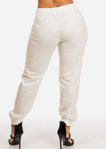 Ivory Zipper Accents Drawstring Pants