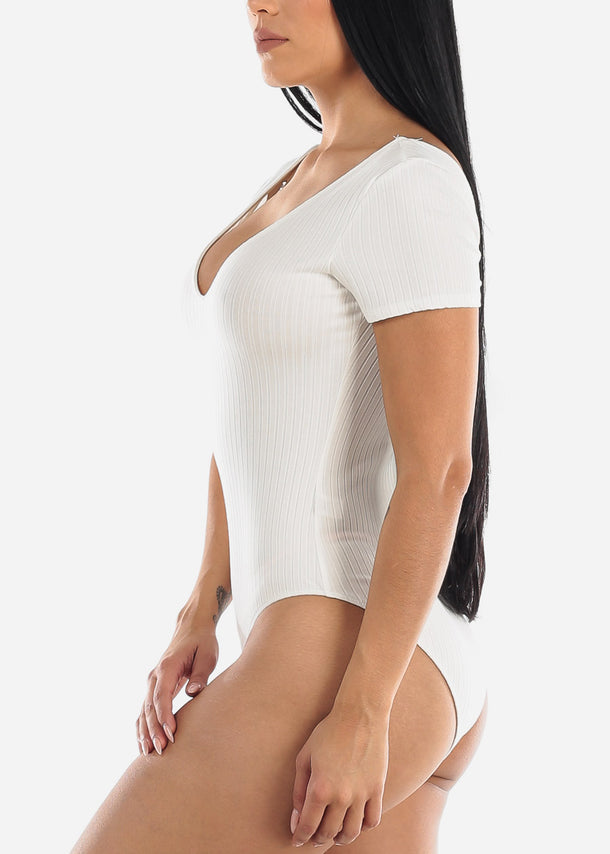 Short Sleeve White Ribbed Bodysuit