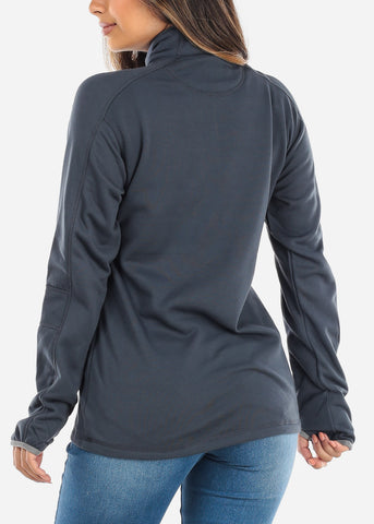 Image of Half Zip Charcoal Pullover Sweater