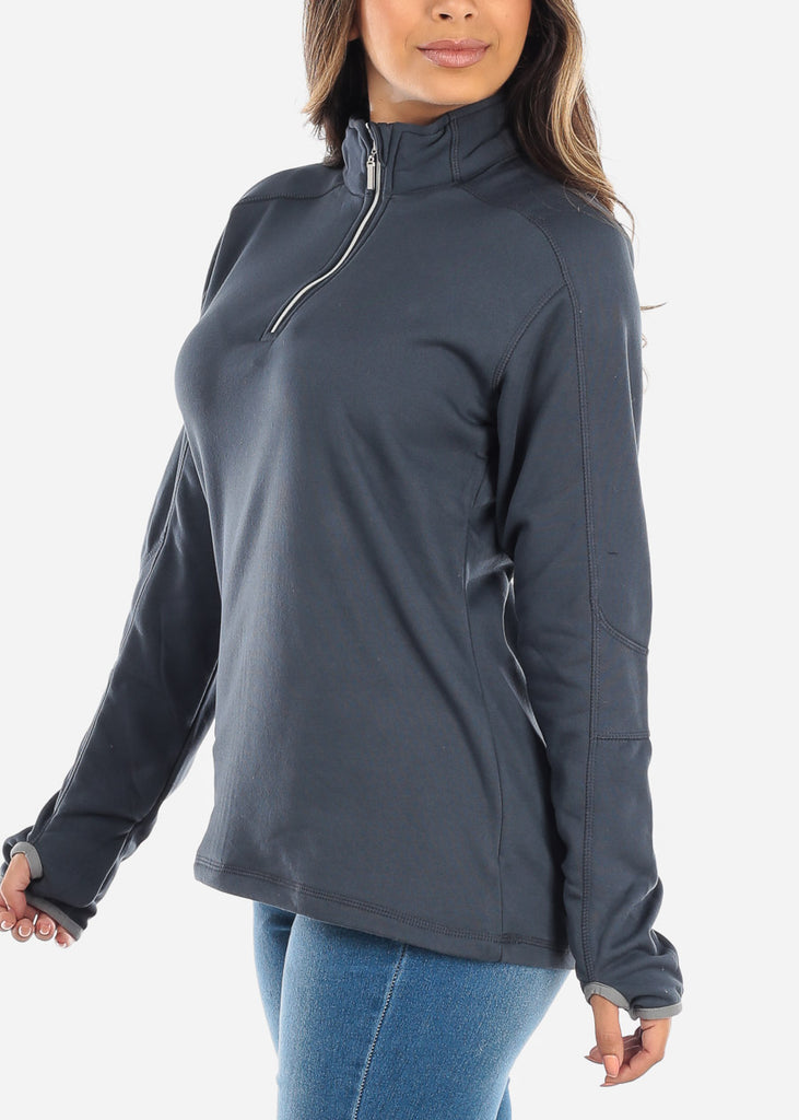 Half Zip Charcoal Pullover Sweater