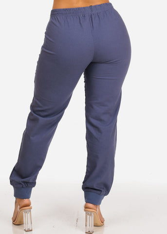 Image of Navy Zipper Accents Drawstring Pants