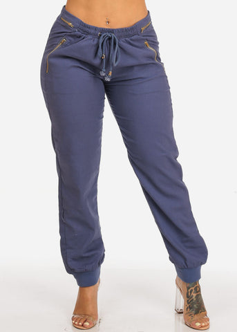 Navy Zipper Accents Drawstring Pants