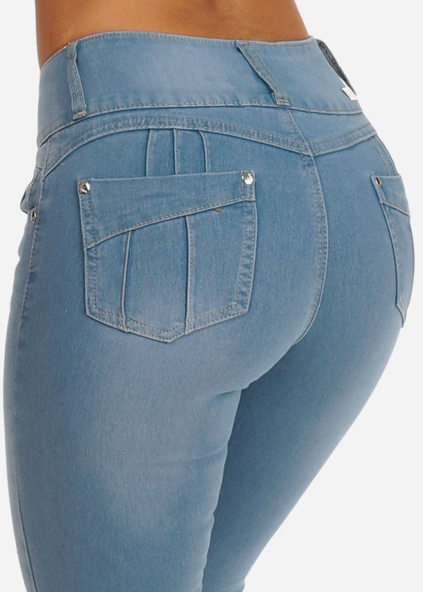 Colombian Design Butt Lifting 3 Button Light Wash Skinny Jeans