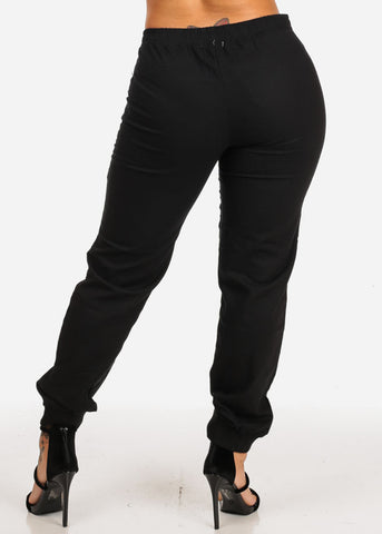 Black Zipper Accents Drawstring Pants