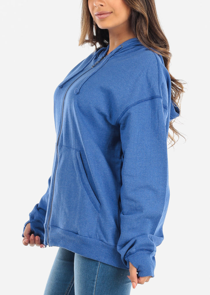 Zip Up Heather Navy Sweater