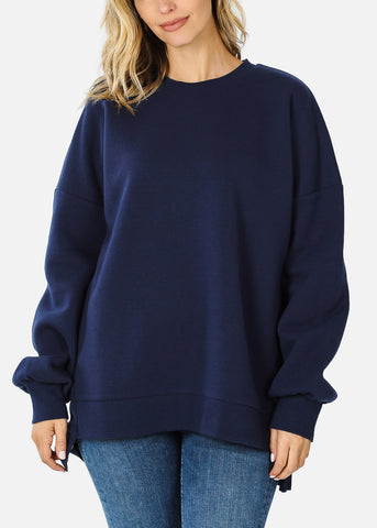 Navy High Low Hem Sweatshirt