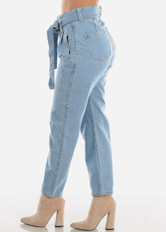 High Rise Tie Belt Boyfriend Jeans