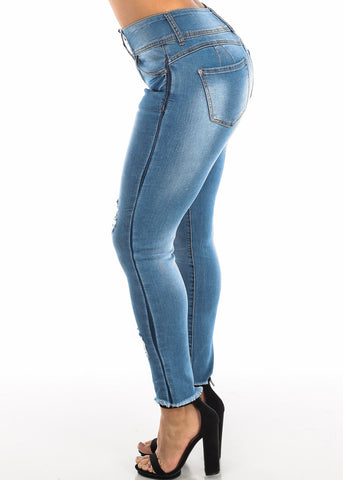 Image of Ripped Butt Lifting Blue Skinny Ankle Jeans