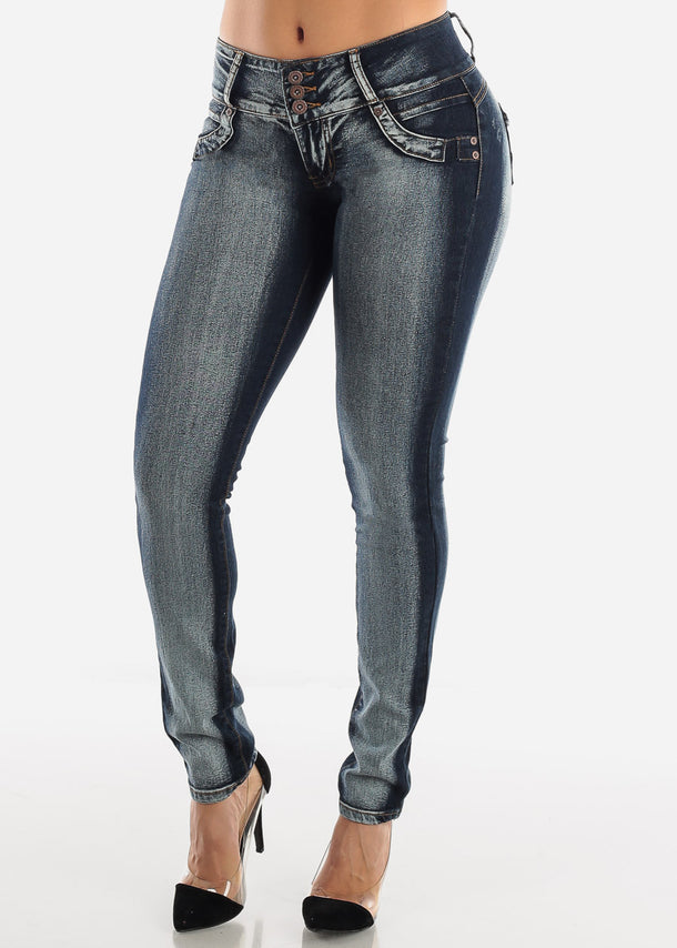 Dark Wash Butt Lifting Low Rise Skinny Jeans