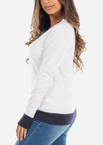Navy & White Pullover Sweatshirt