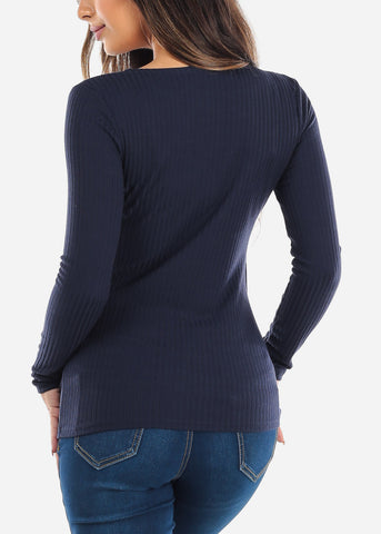 Navy Wrap Front Long Sleeve Top
