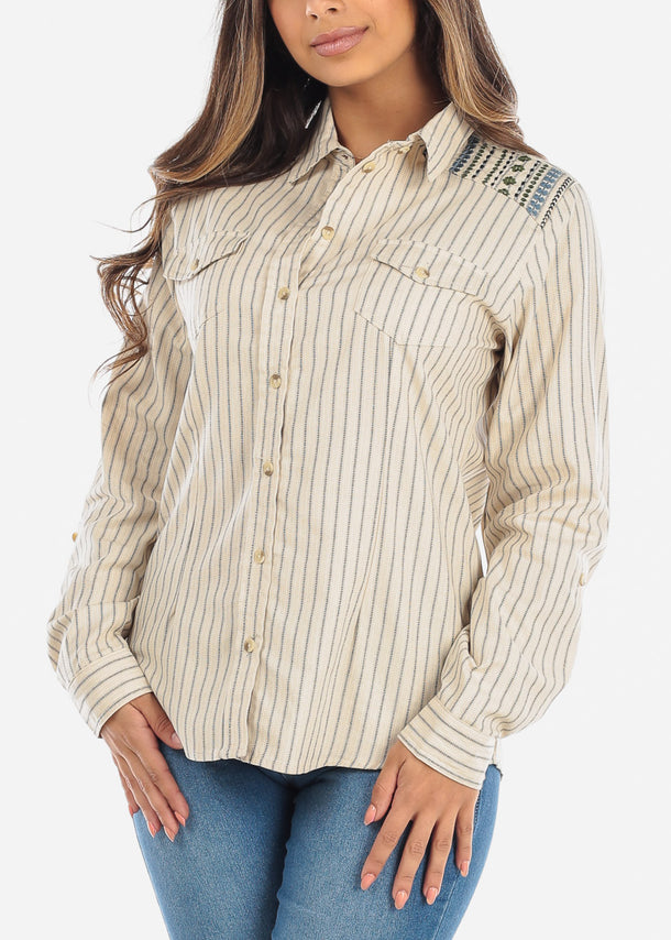 Button Up Stripe Navy & Cream Shirt
