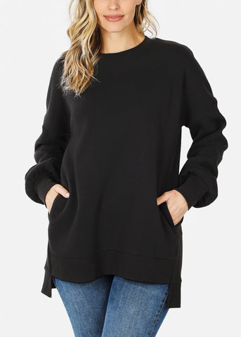 Black High Low Hem Sweatshirt