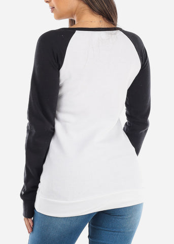 Image of White & Black Pullover Sweatshirt
