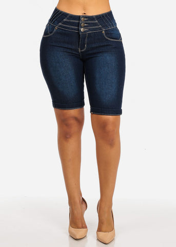 Butt Liftting High Waist Cuffed Hem Bermuda Shorts Jeans Pockets Back 3 Buttons