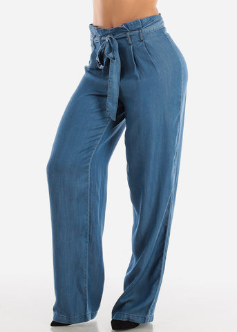 Image of Tie Belt Wide Legged Med Wash Pants