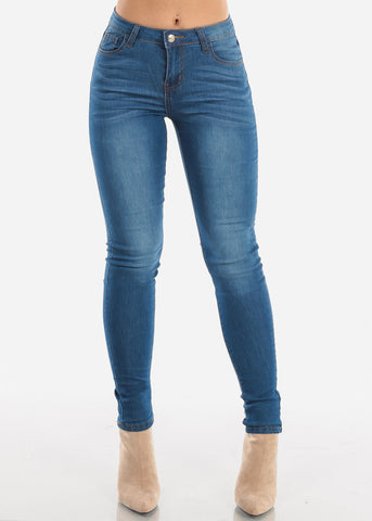 Image of Medium Wash High Rise Skinny Jeans