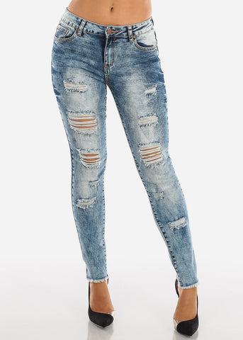 Raw Hem Acid Wash Ripped Skinny Jeans MD007LTBLU