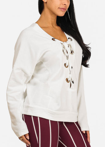 Image of Stylish White Sweater Top
