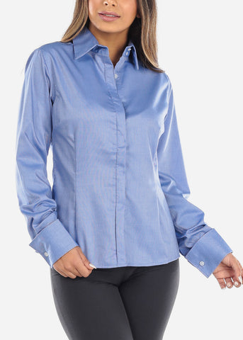 Image of Blue Wrinkle-Free Button Down  Shirt