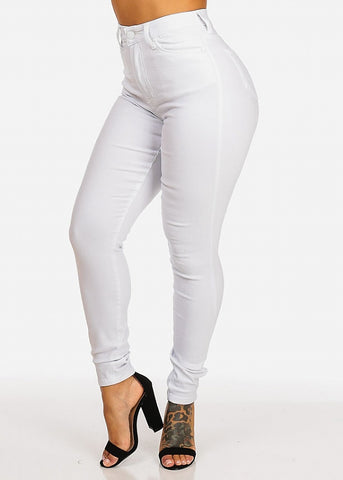 Image of Classic High Waisted Skinny Jeans (White)