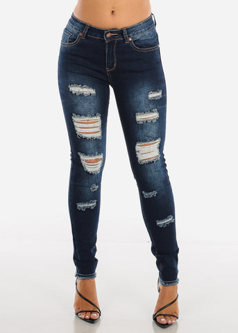 Raw Hem Distressed Dark Skinny Jeans MD007DKBLU