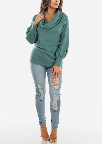 Image of Off Shoulder Foldover Teal Sweater BFT07776GRN